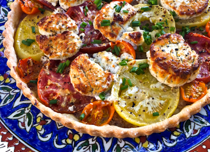 A simple savory tart made with an assortment of heirloom tomatoes from our CSA
